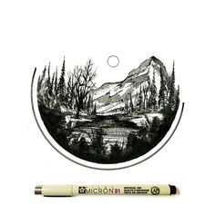 Daily Drawings by Derek Myers Mountain Drawing, Mountain Tattoo, Body Painting, Painting & Drawing, Daily Drawing, Pen Art, Easy Drawings, Doodle Art, Art Day