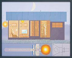 Leonard Rickhard <em>Aftenstemning med to figurer i lampelys</em><br />Olje på lerret, 160x200 cm
