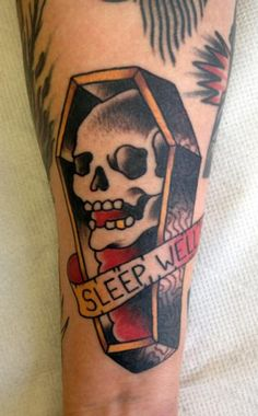 Traditional Skull Coffin Tattoo Design
