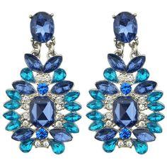 Pair of Trendy Rhinestone Faux Sapphire Earrings For Women