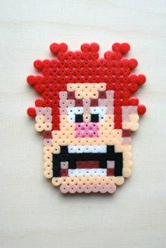Wreck-It Ralph 8bit Head Sprite Hama Perler Beads by nivmagus