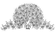 patrones de bordado en cinta - pavo real