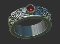 wedding band engagement ring silver band ruby by BonzerJewelry, $170.00