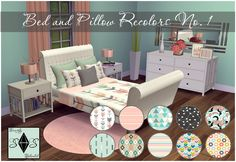 Bed and Pillow Recolors Set OneThis is my first recolor set of mattresses with matching pillows. This set includes double mattress, single mattress, double pillows and small pillow in 10 different patterns with custom catalog thumbnails. Hope you guys enjoy! TOU: Please don't claim as your own or re-upload!!Credit: Double Mattress separated by orangemittensSingle Mattress separated by annachibiDouble Pillows by SeverinkaSingle Pillow by SeverinkaSims 4 Studio/Photoshop CC SpoonflowerD o w n…