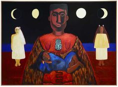 Ko hine te iwaiwa, ko hine korako, ko rona whakamau tai, New Zealand. Purchased 1995 with New Zealand Lottery Grants Board funds. Origin Of The World, New Zealand Art, Nz Art, Maori Art, Kiwiana, Artist Painting, Mythical Creatures, Art Google, Art Forms