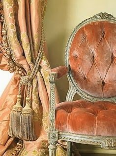 Eye For Design: Decorating With Velvet.Mixing Modern And Classic Velvet curtains in the color of the chair fabric? Window Coverings, Window Treatments, Victorian Chair, Victorian Curtains, Shades Of Peach, Take A Seat, French Decor, Decoration, Sweet Home