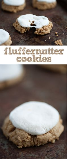 These fluffernutter cookies have a soft peanut butter base and a thick and sweet marshmallow topping!