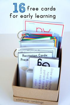 Free cards for early learning - letters, rhyming, leaf recognition... Pick a card and sneak in some learning!