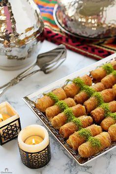 Ricotta Kunafa Rolls | Cleobuttera Arabic Dessert, Arabic Sweets, Arabic Food, Indian Dessert Recipes, Sweets Recipes, Ricotta, Kunafa Recipe, Ramadan Sweets, Lebanese Desserts