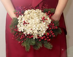 Christmas Bouquet - Winter Wedding Holiday Bridal Bouquet with Pearl Flowers - Wedding Bouquets - Great Brooch Bouquet Alternative