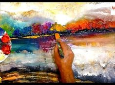 MAGICAL LANDSCAPE ABSTRACT PAINTING, EASY way to paint an ABSTRACT ART - YouTube
