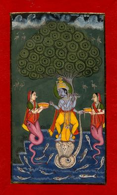 Gouache painting on paper.a dancing on the head of the demon Kaliya. Two naginis worship the deity, all positioned under a kadamba tree. The painting is framed by a red and gold border, which has been adhered to the paper. Dance Paintings, Indian Paintings, Vintage Paintings, Traditional Paintings, Traditional Art, Alchemy Art, Krishna Art, Radhe Krishna, Aztec Culture