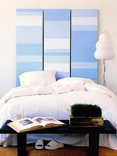 Closet Door Headboard A trio of painted closet doors dresses up a plain bed. To start measure your bed to determine the number of door. Cool Headboards, Faux Headboard, Canvas Headboard, Nautical Headboard, Painted Headboards, Headboard Door, Bedroom Headboards, Custom Headboard, Modern Headboard