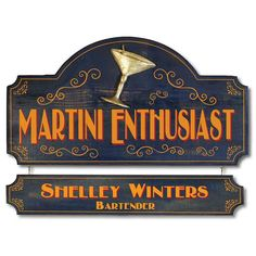 The Martini Enthusiast Vintage Home Bar Plaque is perfect for any Roaring 20's themed home bar, crafted in the USA from real wood and silkscreened then painted by hand with unique accents.