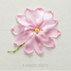 How to start making the basics of ribbon embroidery stitches! Ribbon Embroidery Tutorial, Hand Embroidery Stitches, Silk Ribbon Embroidery, Hand Embroidery Designs, Diy Embroidery, Embroidery Supplies, Ribbon Art, Ribbon Crafts, Flower Crafts