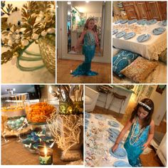 Special mermaid birthday party... Mermaid tails and crowns as a take away gift. Delightful!