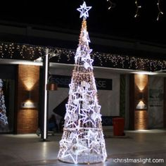 Unique lighted star cone Christmas trees   iChristmasLight