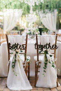 Wedding Chair Signs, Wedding Chair Decorations, Rustic Wedding Signs, Wedding Chairs, Wedding Centerpieces, Natural Wedding Decor, Decorations For Weddings, Wedding Signing Table, Rustic Wedding Groom