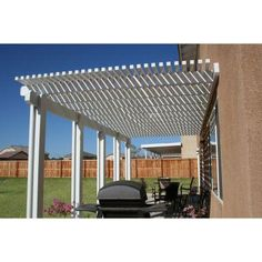Four Seasons Building Products 20 ft. x 12 ft. White Aluminum Attached Open Lattice Patio Cover at The Home Depot -- * Offers shade while adding beauty to your outdoor space * Easily customizable 10 foot extruded posts * Durable patio cover resists chipping, cracking and peeling. The cottage at 521 Aragon is 20' x 20'