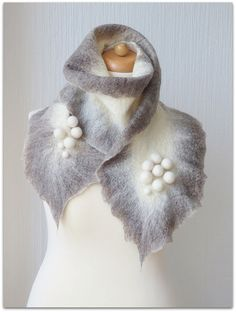 Finnish winter gray, wet felted warm gray and white scarf with pompoms