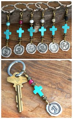 Blue Turquoise Cross Keychain Favors Cross Key Chain Initial Monogram Keychain for Women Custom Keychain Personalized Gift for men Wax Seal Cute Jewelry, Jewelry Crafts, Jewelry Ideas, Handmade Jewelry, Bling Purses, Small Christmas Gifts, Monogram Keychain, Personalized Gifts For Men, Wire Art