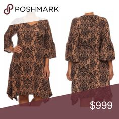 """(Plus) Damask print dress Damask print dress. 96% polyester/ 4% spandex. Super soft and stretchy! Bell sleeves. Absolutely gorgeous- photos do not do this justice!  XL: L 39"""" B 40"""" 2x: L 40"""" B 42""""  3x: L 40"""" B 44"""" ⭐️This item is brand new from manufacturer without tags.  🚫NO TRADES 💲Price is firm unless bundled 💰Ask about bundle discounts Availability: XL•2x•3x • 1•1•2 Dresses Asymmetrical"""