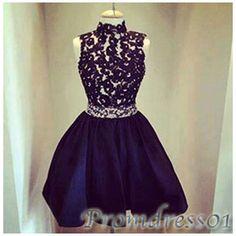 #promdress01 prom dresses, cute deep blue lace chiffon high neck sleeveless short prom dress for teens, bridesmaid dress, occasion dress #prom2k15 #promdress -> http://www.promdress01.com/#!product/prd1/4210370821/deep-blue-high-neck-lace-short-bridesmaid-dresses