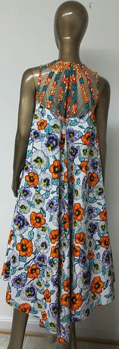 Afrikanische Luxus Print Flare Hi-Lo Kleid. Gewebte Joch.