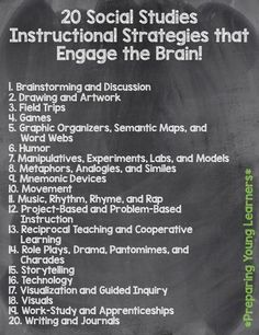 20 Social Studies Instructional Strategies that Engage the Brain! Blog Post and Book Study #SocialStudies