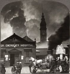 San Francisco earthquake and fire, looking toward the Ferry Building, 1906. Over 225,000 of the city's 400,000 residents were homeless. Fires destroyed about 28,000 buildings and 500 blocks – ¼ of San Francisco.