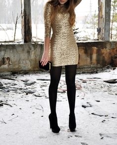Beautiful sequin dress paired with black tights = great New Year's Eve outfit!