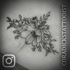 Sternum floral design up for grabs, let me know if it takes your fancy? #lewispointtattoostudio #tattoos #tattoosofinstagram #tattooist #sternumtattoo #flowertattoo #floral #pretty #girlytattoos #girly #delicate #lines #linework #art #artist #artistoninstagram