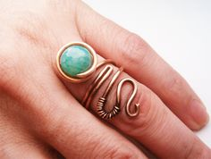 Wire Wrapped Adjustable Ring Copper and Quartzite by bleek70.deviantart.com on @deviantART
