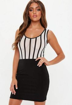 7639ac105e White Stripe Sheer Mesh Sleeveless Bodysuit Missguided