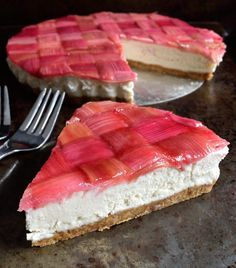 Rhubarb season is coming to an end but I think there's juuust enough time to squeeze in one last recipe. This vegan rhubarb cheesecake looks beautiful, tastes delicious and is surprisingly simple to make with Rhubarb Desserts, Rhubarb Recipes, Vegan Potato Salads, Vegan Dishes, Bbc Good Food Recipes, Vegan Recipes, Easter Recipes, Dessert Recipes, Vegan Coleslaw