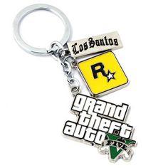 5GTA 5 Game keychain Hot Sale ! Grand Theft Auto 5 Key Chain For Fans Xbox PC Rockstar Key Ring Holder  Jewelry Llaveros