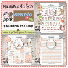 Spring Stickers, Planner Stickers, Kawaii Stickers, Animal Stickers, Pet Stickers, Planner Accessories, Spring, Rabbit, Erin Condren