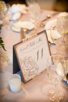Vintage Elegant table tent table numbers, menu not pictured but on reverse side. Handmade by RSVP Ensembles by Resa. Glamorous Wedding, Romantic Weddings, Simple Weddings, Elegant Wedding, Wedding Wishes, Our Wedding, Wedding Stuff, Wedding Ideias, Wedding Collage