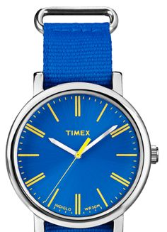 Fine example of a TIMEX Men's Originals Classic Oversized Quartz Blue Band and Dial Yellow Accents. http://goo.gl/RnhHMY