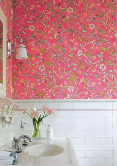 perfectly pink bathroom wallpaper
