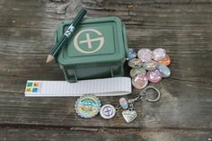 Small Double Latch Crate Geocache With FTF Prize & Swag Items