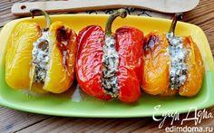 Запеченный перец, фаршированный вешенками и сыром | Кулинарные рецепты от «Едим дома!»
