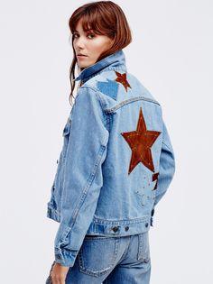 Sheila Márquez || FP UNDERSTATED LEATHER Lone Star Suede Star Patch & Stud Accent Denim Jacket (Indigo)