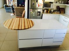 Handless drawers with solid wooden top.