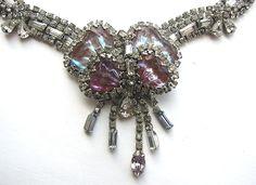 Rare SAPHIRET Art Glass Necklace!
