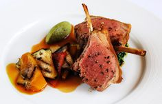 Roasted rack of English lamb with chargrilled Provencal vegetables, olive tapenade and basil pesto by Matthew Tomkinson