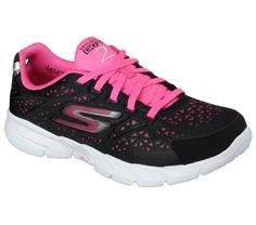 Kick your workout into high gear with the Skechers GOfit 3 - Presto shoe.  Unique 3D printed textured fabric and synthetic upper in a lace up athletic fitness cross training sneaker with GOga Mat® Technology insole and Resalyte midsole.