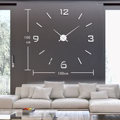 modern wall clock clocks horloges murales watch eva Wall Stickers 100x100cm LA10