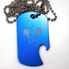 """MLP Pinky Pie New Blue Pendant 30"""" Chain Dog Tag Aluminum Bottle Opener EDG-0263"""