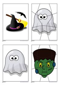13 puzzles en couleur ou en noir et blanc sur le thème d'Halloween et déclinés en 4, 6, 9 et 12 et 15 pièces avec des illustrations variées (monstre, sorcière, citrouille, vampire, fantôme...) Ils pourront être plastifiés ou utilisés directement comme exercices.